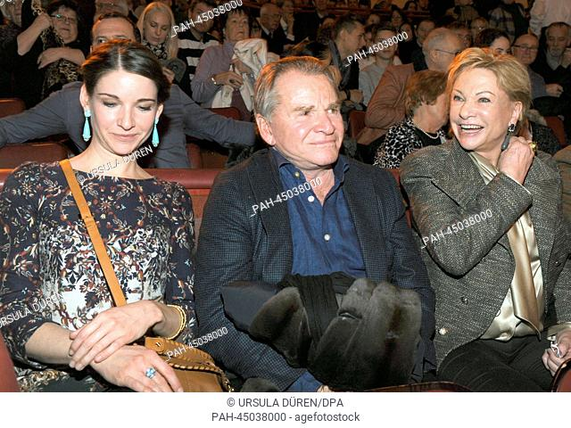 German actor Fritz Wepper, his Angela (R) and his daughter Sophie attend the premiere of the winter program at Circus Krone in Munich, Germany, 25 December 2013