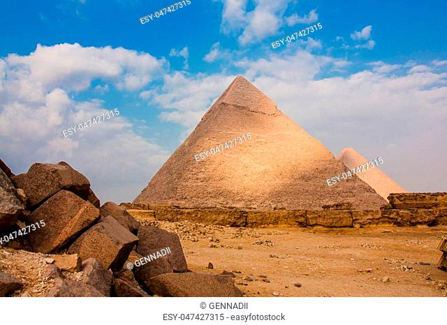 The Great Pyramid and Great Sphinx at Giza Plateau