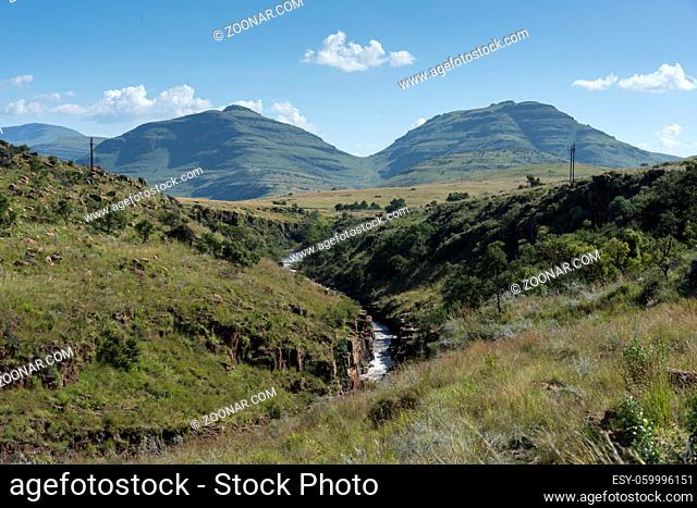 mountains and river on the panaorama route in south africa near hoedspruit with big canyon and great view on landscape