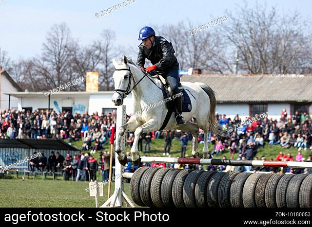 Sofia, Bulgaria - March 19, 2016: A policeman from Horse police unit in jumping with his horse above a barrier while participating in a parade at Saint...