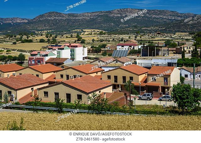 An orange roof view in Sentiu of Sio, Lerida province, Catalonia, Spain