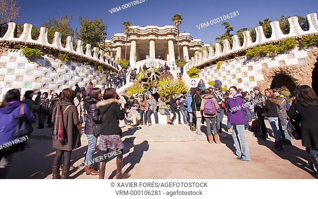 Park Güell from Antoni Gaudi architect in Barcelona city, Spain