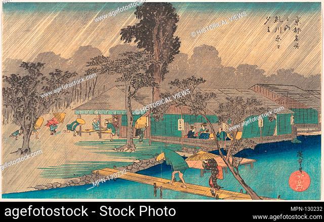 Tea-houses on the Bank of the Tadasu River in a Shower. Artist: Utagawa Hiroshige (Japanese, Tokyo (Edo) 1797-1858 Tokyo (Edo)); Period: Edo period (1615-1868);...