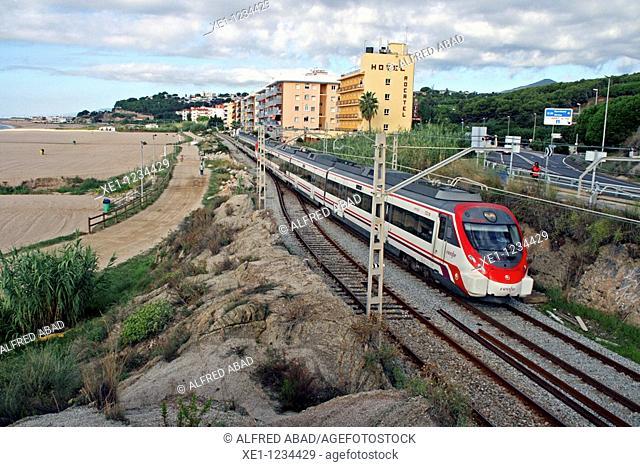 train, beach, Canet de Mar, Catalonia, Spain