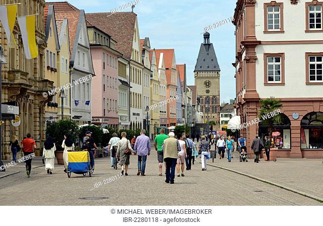 Passers-by on Maximilianstrasse street, Via Triumphalis street, Altpoertel gate at the back, Speyer, Rhineland-Palatinate, Germany, Europe, PublicGround