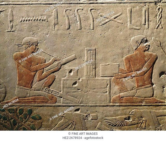 Two Scribes. Relief from Mastaba of Akhethotep at Saqqara, Old Kingdom, 5th Dynasty, ca 2494-2345 BC