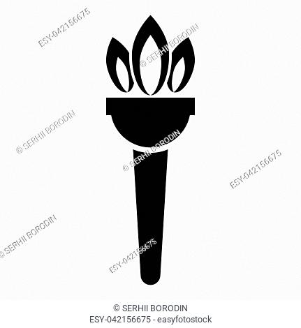 Torch flambeau icon black color vector illustration flat style simple image