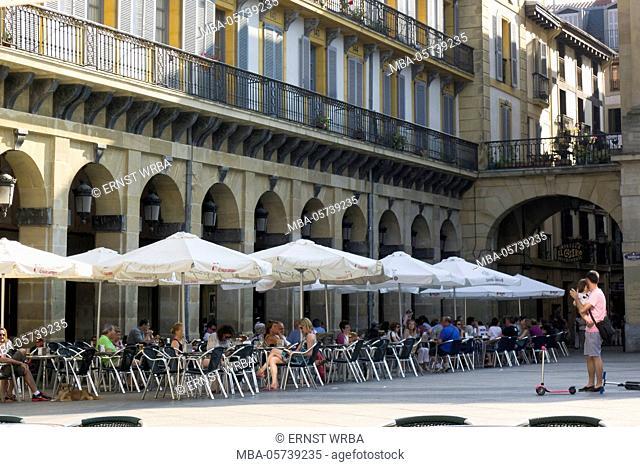 Street café on the Piazza della Constitución, Old Town, Donostia-San Sebastián, Gipuzkoa, the Basque Provinces, Spain