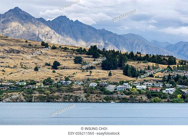 lake wakatipu view with a small town across the lake. Taken near queenstown in new zealand. Summer lake wakatipu view
