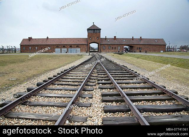 Railroad and gate buildings of the concentration camp Auschwitz-Birkenau, Auschwitz, Pole