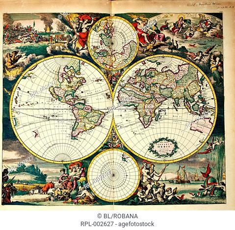 Four Hemisphere World Map. Borders decorated with landscapes representing the four elements, with scenes taken from The Iliad