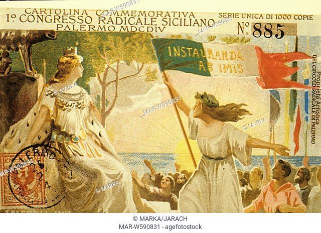 1st Sicilian Radical Congress, Palermo, commemorative postcard, 1904