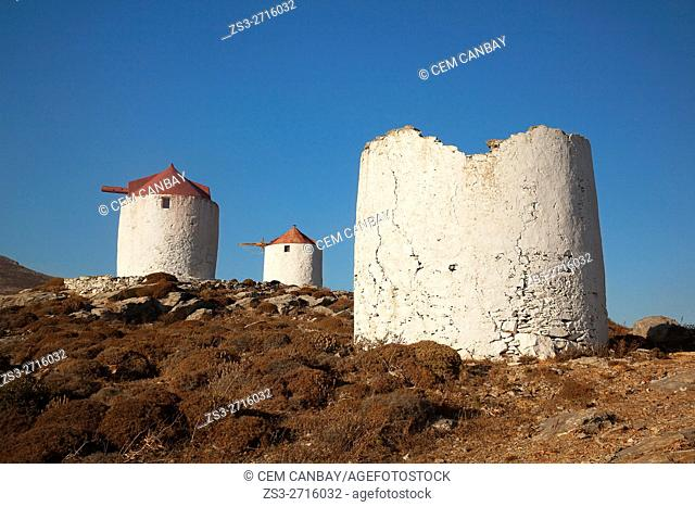 Traditional windmlls on the hill in Chora, Amorgos, Cyclades Islands, Greek Islands, Greece, Europe