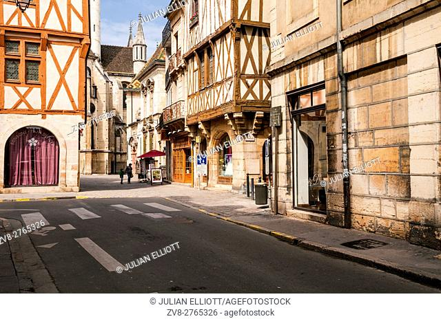 The backstreets of old Dijon in France