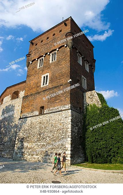 Tower outside Wawel castle hill walls in Krakow Poland Europe