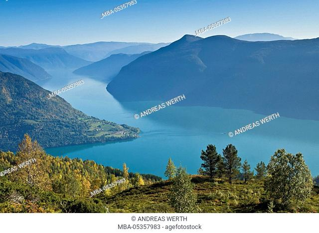 View from mount Molden, over the Lustrafjord, inner branch of Sognefjord, tongue of land of Urnes, Norways oldest stave church, Sognefjord, Norway
