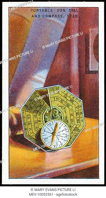 Combined PORTABLE SUN-DIAL, with a compass so that it can be correctly oriented : made by Butterfield, an Englishman working in Paris