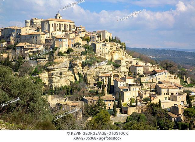 Gordes Village, France in Black and White Sepia Tone