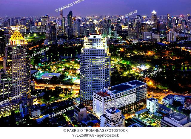 View of Lumphini Park from the Moon Bar of the Banyan Tree Hotel , Bangkok, Thailand