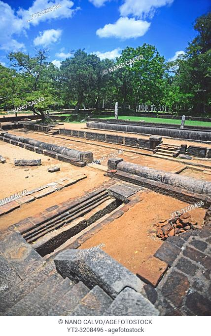 Main refectory in the Abhayagiriya complex ruins, Anuradhapura, Sri Lanka