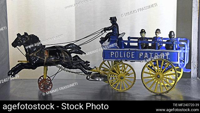Police wagon in the exhibition titled ' Per gioco' from the collection of antique toys of the Capitoline Superintendence
