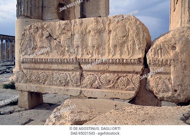 Bas-relief from the temple of Bel or Baal, Palmyra (Unesco World Heritage List, 1980), Syria. Roman civilisation, 1st century AD. Detail