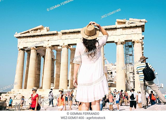 Greece, Athens, people visiting The Parthenon temple on the Acropolis