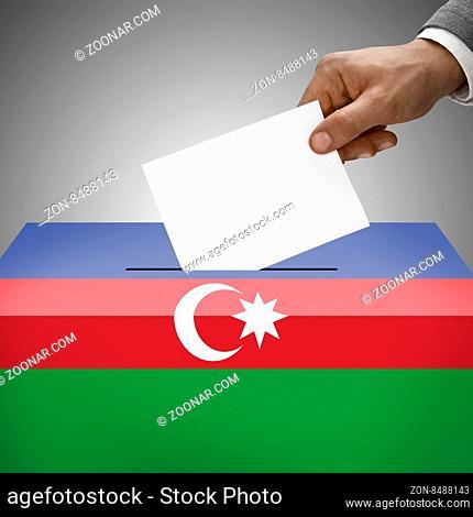 Ballot box painted into national flag colors - Azerbaijan