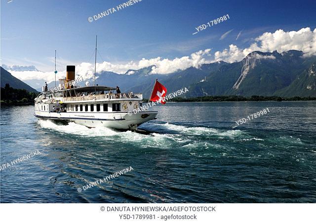Geneva Lake, Lac Leman, Steamboat Cruise, Alps, Switzerland
