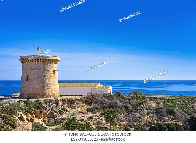 Campello Isleta or illeta Tower in Alicante of Spain