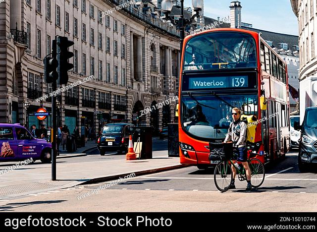 London, UK - May 15, 2019: Rush hour in Picadilly Circus with Regent St