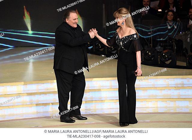 Gerard Depardieu, Milly Carlucci during the tv show Ballando con le stelle, Rome, ITALY-22-04-2017