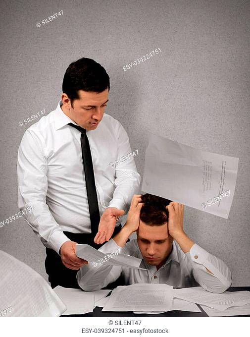 Nervous boss argue his subordinate in office