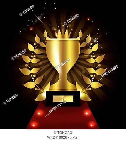 Gold trophy on red carpet in illustration