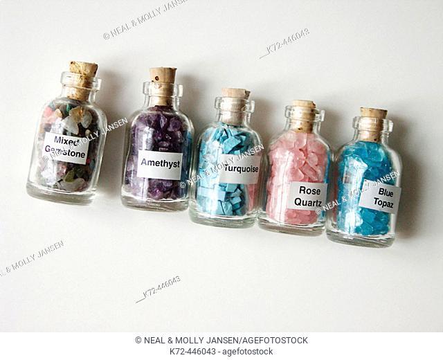 Gemstones: mixed, amethyst, turquoise, rose quartz and blue topaz