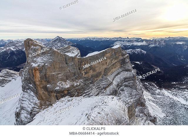 Aerial view of the rocky peaks of Monte Pelmo at dawn Zoldo Dolomites Province of Belluno Veneto Italy Europe