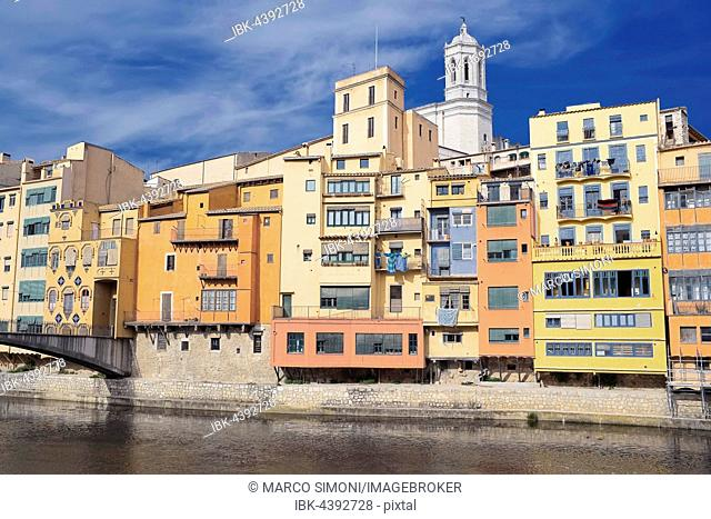Colorful houses and Cathedral on the Onyar River, Girona, Catalonia, Spain