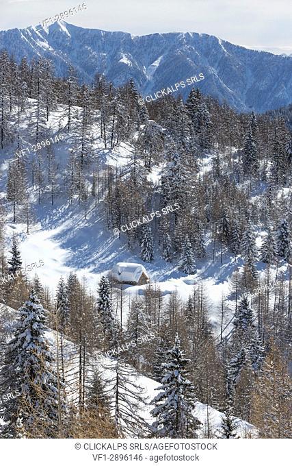 Winter view of the Alp Solcio (Alp Solcio, Varzo, Verbano Cusio Ossola province, Piedmont, Italy, Europe)