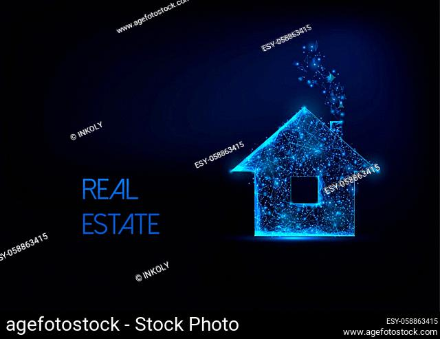 Futuristic real estate business concept with glowing low polygonal residential house symbol isolated on dark blue background