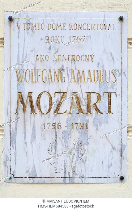 Slovakia, Bratislava, Palffy palace, a plate commemorating a concert given by 6-year-old Wolfgang Amadeus Mozart, one of his first public concerts