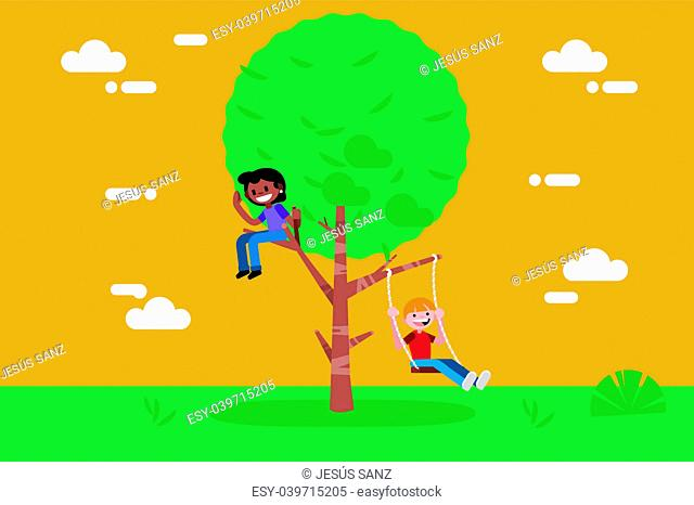 Children (boy and girl) swinging on a Swing Tree. Vector illustration in a flat minimal style