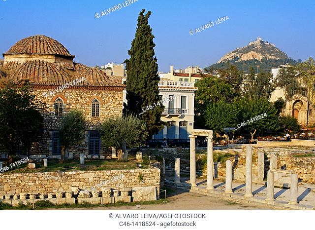 Roman agora and Lykavittos Hill in background, Athens  Greece