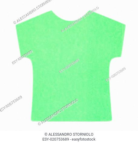 Flat green T-shirt sticky note, isolated on white background, with shadow