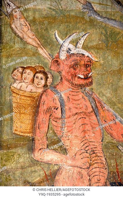 Devil & Kidnapped Children Fresco Chapel of White Penitents La Tour Alpes-Maritimes France