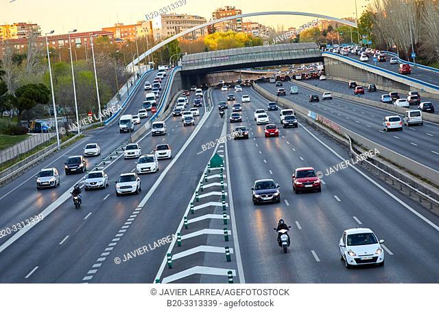 Traffic, M-30 motorway, Madrid, Spain, Europe