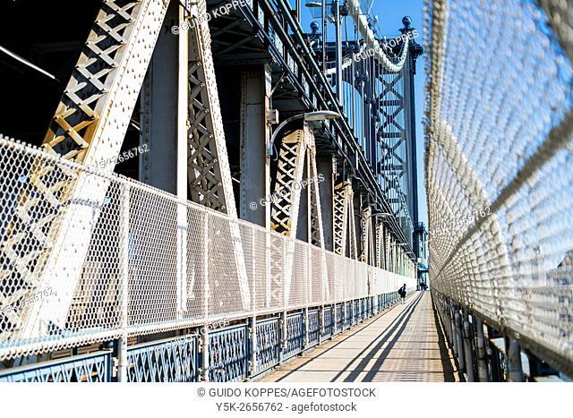 New York City, USA. The Manhattan Bridge Walkway