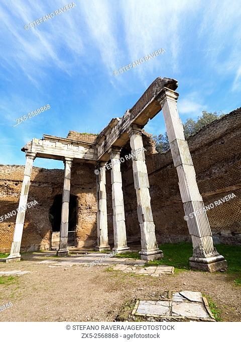 Hall with the Doric Pillars in Villa Adriana, Hadrian's Villa, near Tivol - Rome, Italy