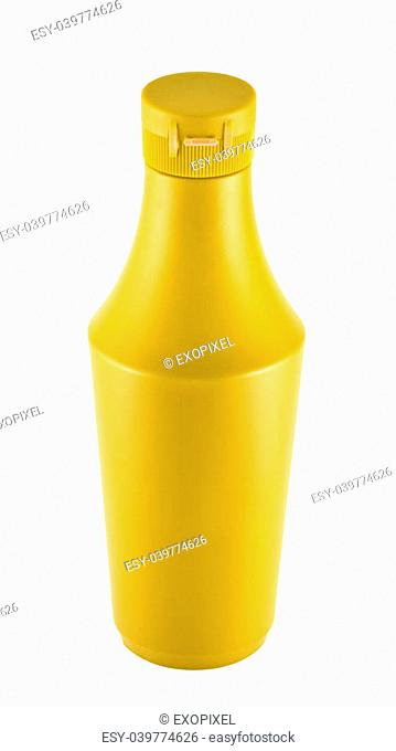 Platic bottle of Mustard souce isolated over white background
