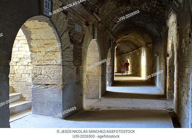 Inside of roman amphitheatre or roman arenas, monument declarated World Heritage by UNESCO, in Arles, Bouches-du-Rhône department, in Provence-Alpes-Côte d'Azur