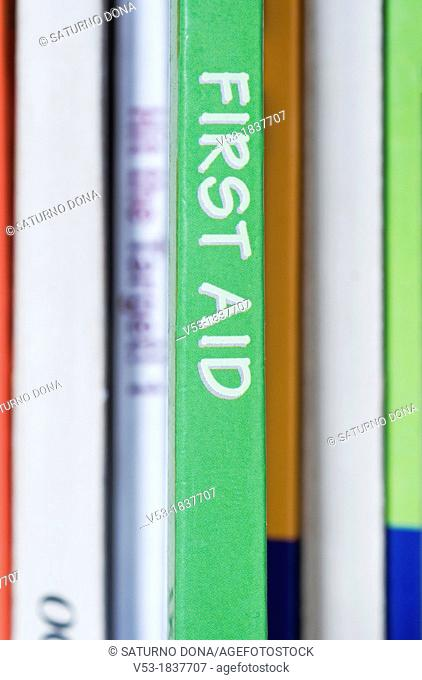 First Aid book in bookshelf